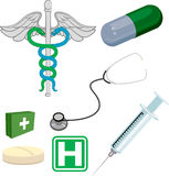 Medical elements. Various medical objects/ design elements royalty free illustration