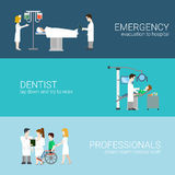 Medical elements staff patients flat concept vector illustration. Medicine infographic elements with medical staff and patients treatment and examination flat Royalty Free Stock Photos