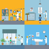 Medical elements staff patients flat concept vector illustration. Medicine infographic elements with medical staff and patients treatment and examination flat Royalty Free Stock Image