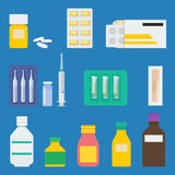 Medical elements vector illustration. Set of pharmaceutical products: bottle of pills, lozenge in blister, pills in paper package, ampuls, drops, medical syringe Stock Photo