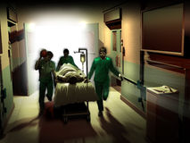 Medical emergency. Corridor of an hospital, where a doctor and two male nurses are  pulling fast a bed toward the surgery room Royalty Free Stock Photography