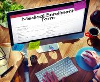 Medical Enrollment Form Document Medicare Concept. People Filling Up Medical Enrollment Form Document Medicare Royalty Free Stock Image