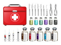 Medical equiments and firstaid box Stock Photography