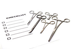 Medical Equipment. Checklist for operating room Stock Image