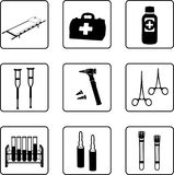 Medical Equipment. Black and white silhouettes in a nine squares grid Royalty Free Stock Images