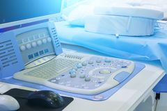 Medical equipment background, close-up ultrasound machine. A medical equipment background, close-up ultrasound machine stock photography