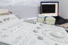 A medical equipment background, close-up ultrasound machine. Detail of computer ultrasound with x-ray in modern medicine Stock Image