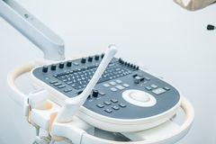 Medical equipment background, close-up ultrasound machine. Selective focus Royalty Free Stock Images