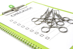 Medical equipment on check list chart Royalty Free Stock Photo