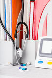 Medical equipment. On the medical claim form Royalty Free Stock Images