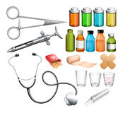Medical equipment and container Royalty Free Stock Photos