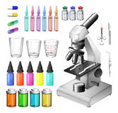 Medical equipment and containers. Illustration Stock Images