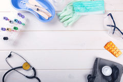 Medical equipment with copy space on white table Royalty Free Stock Images