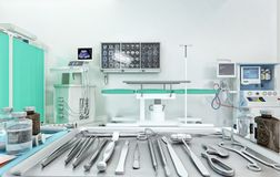 Medical equipment, devices in modern operating room. 3D illustration. vector illustration