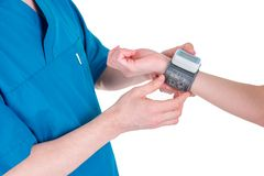 Medical equipment : digital blood pressure monitor royalty free stock photography