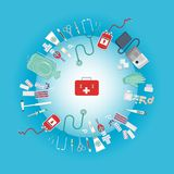 Medical equipment flat web and print illustration royalty free illustration