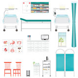 Medical equipment and furniture in hospital. Medical equipment and furniture in hospital, counter, chairs,Bed Side Control, infusion pump, disable bed, infusion Royalty Free Stock Photography