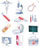 Medical equipment icon set. Medical theme glossy icon set Royalty Free Stock Images