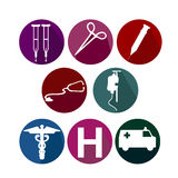 Medical equipment. Icon white silhouettes stock illustration