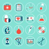 Medical Equipment Icons. Set with first aid kit phonendoscope syringe isolated vector illustration Royalty Free Stock Images