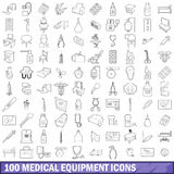 100 medical equipment icons set, outline style. 100 medical equipment icons set in outline style for any design vector illustration Royalty Free Stock Image