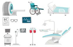 Medical equipment vector cartoon illustrations set. Medical equipment illustrations set. Collection of medical equipment including hospital bed, MRI, x-ray Stock Photography