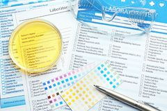 Medical equipment and laboratory test forms. Urology concept royalty free stock images