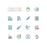 Medical Equipment - line icons set. Medical Equipment - modern vector line design icons set. Male, female doctor, ambulance, medicine, syringe, record, pills Stock Photography