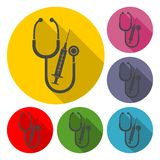 Medical equipment with long shadow set. Icon Royalty Free Stock Images