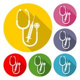 Medical equipment with long shadow set. Vector icon Royalty Free Stock Photography