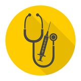 Medical equipment with long shadow. Vector icon Royalty Free Stock Photos