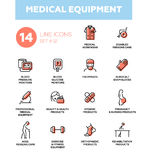Medical equipment - Modern simple thin line design icons, pictograms set. Medical equipment - set of vector icons, pictograms. Disabled people care, blood Royalty Free Stock Photos