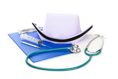 Medical equipment and nurse hat Royalty Free Stock Images