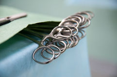Medical equipment, preparation for surgery, clips on table. Close-up Stock Photos