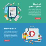 Medical equipment prescription first aid supplies flyer. Medical equipment for prescriptions and first-aid kit as infographic. ER tools as vector illustration Stock Photo
