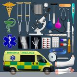 Medical equipment set. Emergensy ambulance, tools, medical products. Vector illustrations. Medical equipment set. Emergensy ambulance, tools, medical products Royalty Free Stock Photography