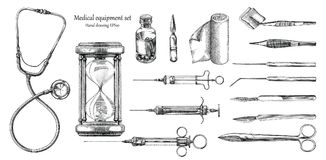 Medical equipment set hand drawing vintage style. Clip art isolated on white background Royalty Free Stock Photos