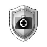 Medical equipment on shield Stock Images