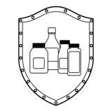 Medical equipment on shield Stock Image