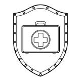 Medical equipment on shield Stock Photos