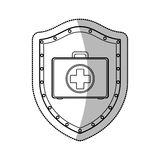 Medical equipment on shield Royalty Free Stock Image