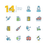 Medical Equipment - thick line icons set Stock Photos
