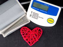 Medical equipment to check hart health, Manual blood pressure sphygmomanometer.  royalty free stock images