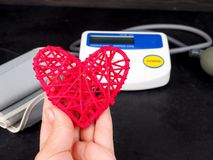 Medical equipment to check hart health, Manual blood pressure sphygmomanometer.  royalty free stock photo