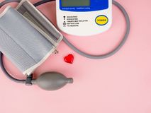 Medical equipment to check hart health, Manual blood pressure sphygmomanometer.  royalty free stock photography