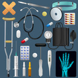 Medical equipment tools and drugs set. Medicine traumatology surgery and first aid. Realistic detailed objects. Vector Stock Image