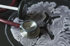 Medical equipments and MRI picture Stock Photography