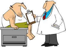 Medical exam. This illustration depicts a doctor examining a male patient in his underwear Stock Photo