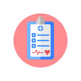 Medical exam clipboard flat icon. Round colorful button, circular vector sign, logo illustration. Stock Images