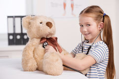 Medical exam of toy bear. Royalty Free Stock Photography